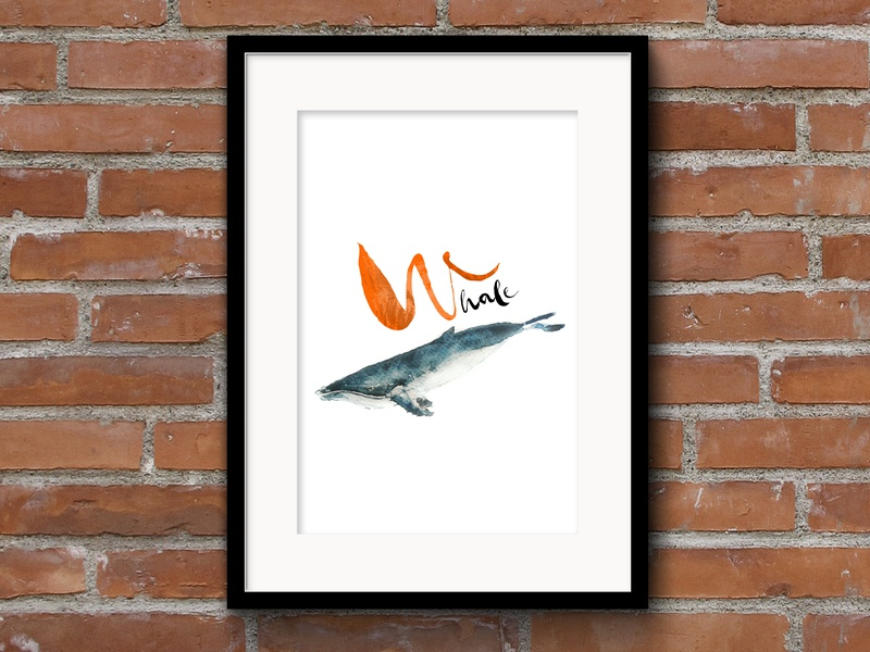 W for Whale graphic design graphicdesign watercolor illustration illustration watercolors animalprint print photoshop painting watercolorart art whale watercolor
