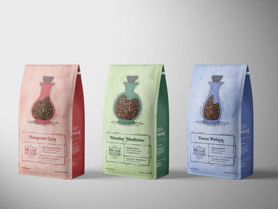 Coffee Bags typography design adobe colors coffeeshop coffee cup medicinebottle bottle papertexture texture grunge vintagelettering vintage apothecary packaging coffee coffeebag