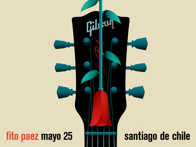 Fito Paez en Santiago de Chile concert flyer concert poster guitarra musica fito paez gibson illustration flower illustration flower guitar rock music concert poster