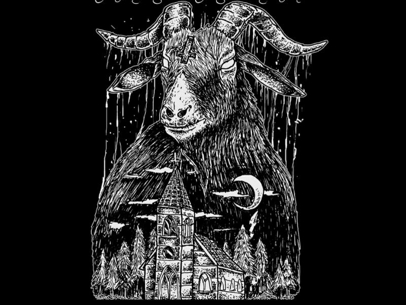Goat apparel clothing forsale pointilism illustration design tees artwork art metal death black satanic demon baphomet goat