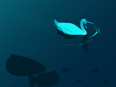 Black Swan river dribbble minimalist blue sketch flat vector illustrator draw illustration swan