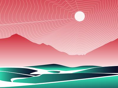Hyper-Reality dribbble illustrator hyperrealism landscape moon draw design sketch flat vector illustration