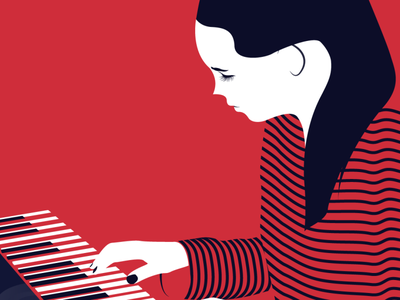 Creative Woman dribbble sketch flat vector draw design illustrator piano woman creative illustration