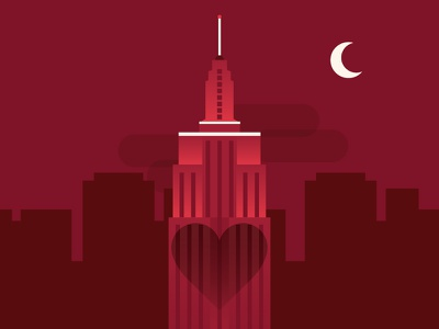 Valentine's Day for OpenTable empire state building nyc illustration design valentines day night city hearts red