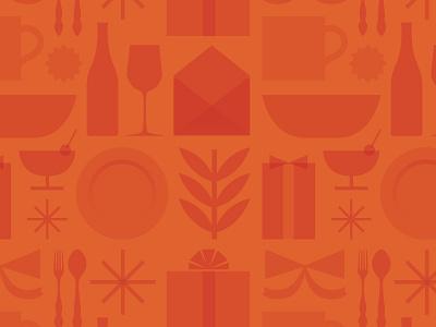 Pattern for OpenTable Gifts pattern illustration orange opentable gifts plate food wine dinner ribbon design flat