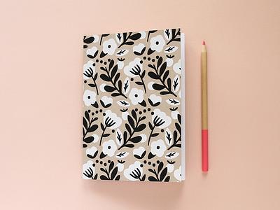 New Notebook paper screen print sketchbook flowers floral pattern notebook