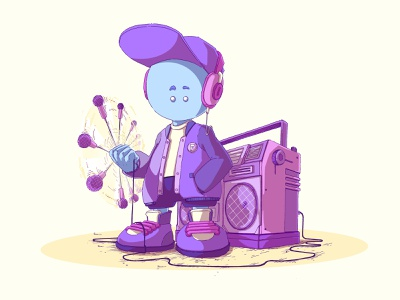 Fonzyk content creation content design social network digital 2d ink digital colors handmade drawing color bommbox character music character design
