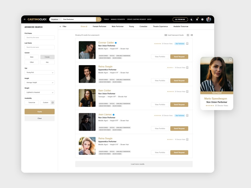Collaboration Web Platform for Actors and Casting Directors navigation bar navbar menubar detail page webapplication forms search results webapp design search bar adobexd clean design admin dashboard dashboard ui admin panel
