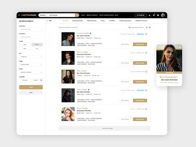 Collaboration Web Platform for Actors and Casting Directors navigation bar navbar menubar detail page webapplication forms search results webapp design search bar adobexd clean design admin dashboard dashboard ui admin panel