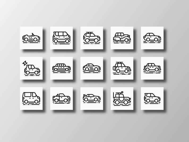 Cars Vehicle (Outline Icons) cars automotive transportation vehicles car illustration element infographic web outline app ui doodle icon bundle creative icon set iconfinder vector icon design