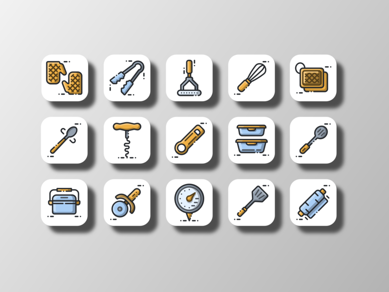 Kitchen Utensil 02 (Filled Outline) kitchen utensil cartoon filled line iconpack illustration food and drink utensil restaurant cooking kitchen uiux iconography ui doodle icon bundle icon set iconfinder vector icon design
