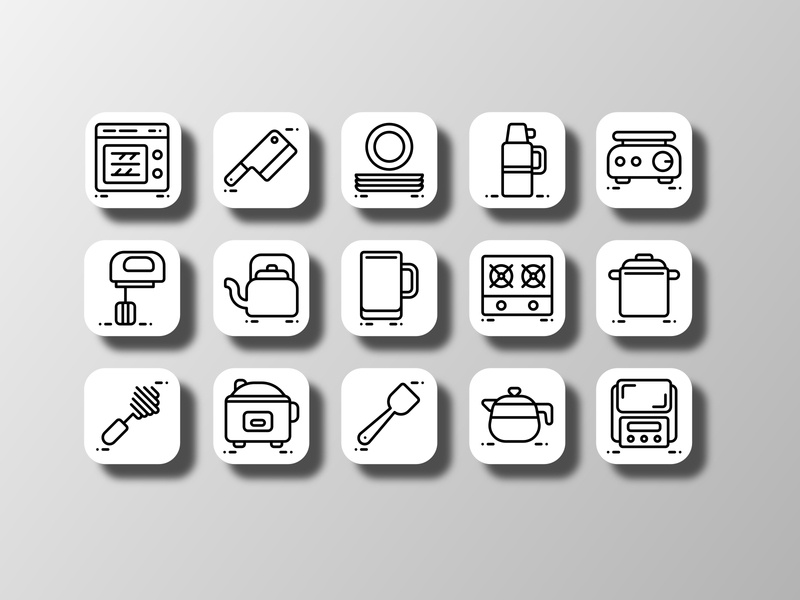 Kitchen Utensil 03  (Outline) icon pack graphic resources kitchenware kitchen utensil tools cooking cook kitchen pictogram iconography outline ui doodle creative icon bundle icon set iconfinder vector icon design