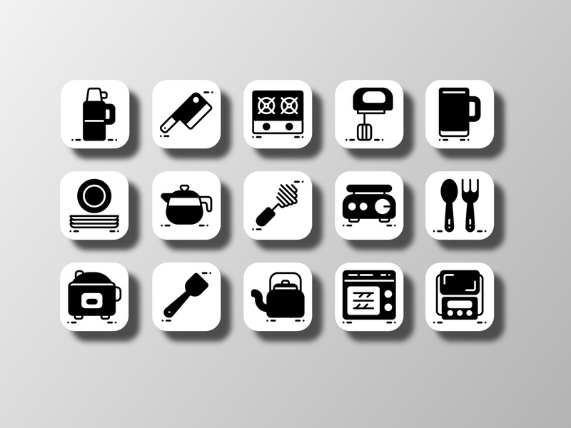 Kitchen Utensil 03 (Glyph) icon pack kitchenware kitchen tools utensils cooking cook black and white silhouette pictogram iconography ui doodle creative icon bundle icon set iconfinder vector icon design