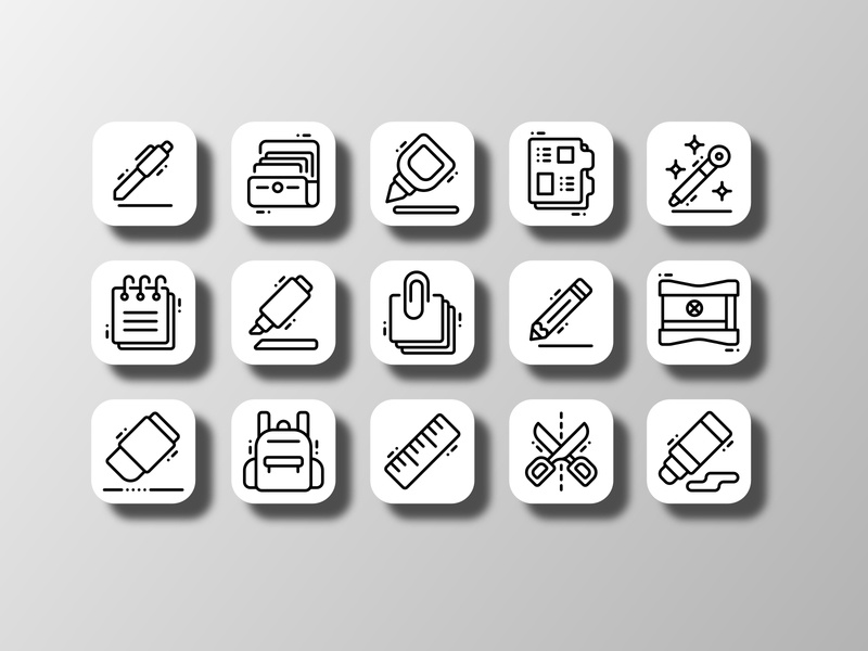 Stationery (Outline) student education tools equipment school supplies office supplies backtoschool school pictograph iconography app ui doodle creative icon bundle icon set iconfinder vector icon design