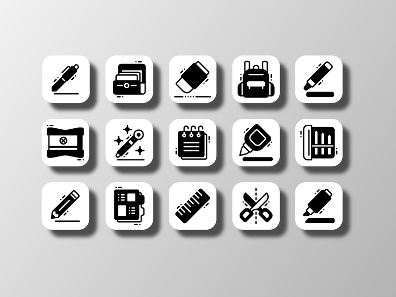 Stationery (Glyph) supplies backtoschool student school adobe illustrator inkscape affinitydesigner sketch figma iconography app ui doodle creative icon bundle icon set iconfinder vector icon design