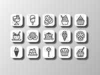 Dessert Icons (Outline) designer cake adobestock sketch outline sweet bakery icon pack dessert food ui logo illustration creative icon bundle iconfinder icon set vector icon design