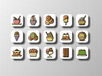 Dessert Icons (Filled Outline) filled outline flat icon flat design dessert desserts ice cream food and drink food illustration ux uiux ui icon designer icon design icons pack icons set icons vector icon design