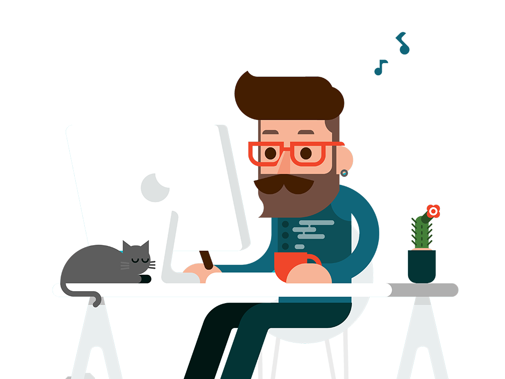 Man At Desk Mockup