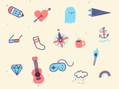 Things I Like paper rainbow rain cloud game controller ukulele uke guitar diamond anchor coffee mug compass sock 3d glasses pennant ghost tattoos heart pencil