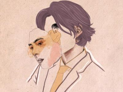 Inner Child little boy asian man asian male man mask digital art watercolour illustration art illustration editorial illustration
