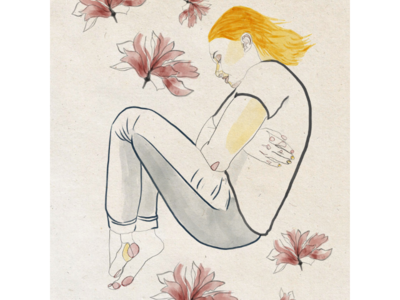 Autumn hug disconnected woman figure figurative line art floral flowers illustration art editorial illustration