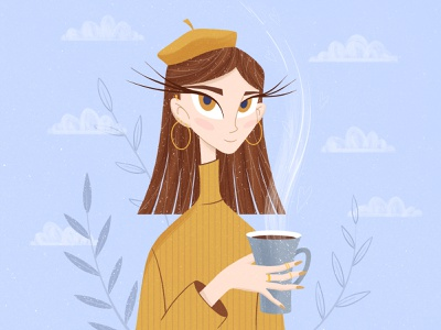 Winter baby baby cute warm hair people face portrait skinny trendy procreate brushes texture eyelashes eyes sky coffee winter girl character cartoon