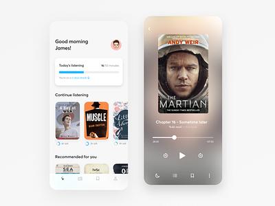 Audiobook app design player audio player audio book audiobooks audiobook app design mobile ui design dailyui ux ui app