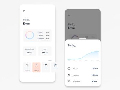Mobile Overlay Screen Design - App Time Tracker App