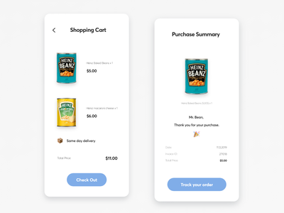 Mobile Shopping and Purchase Summary Design - E-commerce App dailyui 017 dailyui017 reciept purchase summary shopping bag shopping cart ecommerce app design mobile ui design dailyui ui ux app