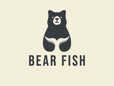BEAR FISH fish logo branding bear logo logodesign logo