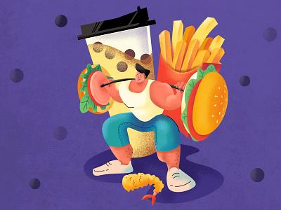 Lose Weight tempura eating food french fries bubble tea hamburg lose weight design ui illustration