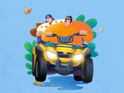 Happy Holiday~ 5.20 buggy fun holiday car girl boy design illustration