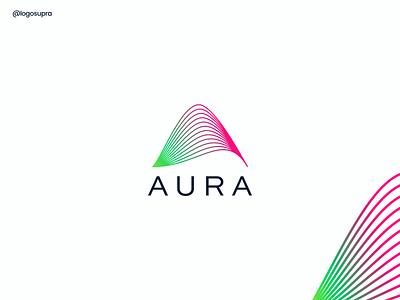 AURA web app minimal brand and identity icon branding logo illustration vector design