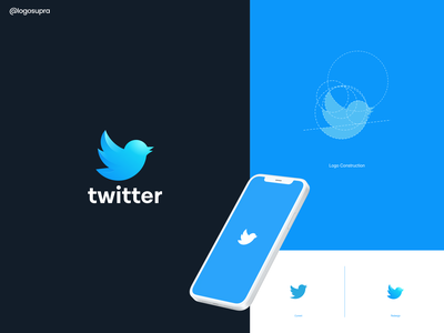 Twitter (logo redesign) web app minimal brand and identity icon branding logo illustration vector design