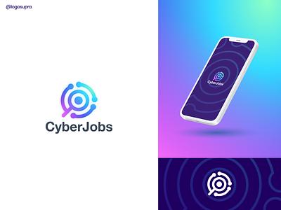 CyberJobs web app minimal brand and identity icon branding logo illustration vector design