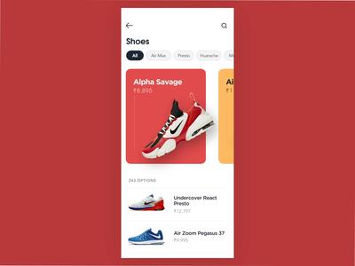 E-commerce shoe app concept illustration minimal clean mobile app ui ux app typography animation design