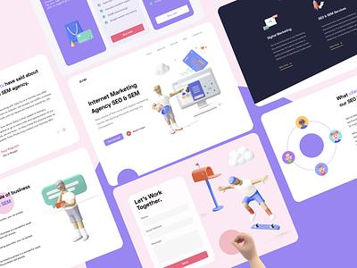 SEO & SEM Landing page web branding ux  ui illustration app mobile app ui ux typography design