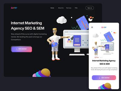 SEO & SEM Landing page mobile web logo minimal graphic design ux  ui animation typography illustration design