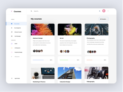 Courses Dashboard - Daily UI Challenge 2/100