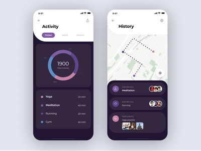 Activity and History screen - Daily UI Challenge 4/100
