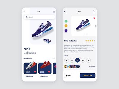 Nike Collection App web mobile app mobile illustration animation ux ui typography design app