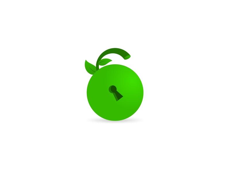 Fruit Padlock Logo logo designer graphic design corporate identity brand identity brand mark logo identity logo corporate logo brand logo for sale logo design vegetarian secure security food nature leaf padlock key lock fruit