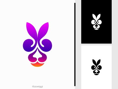 Abstract Rabbit Logo illustration brand designer brand design logomark logotype logo inspiration logo idea logo for sale logo designer logo design modern simple wild nature colorful color head animal rabbit abstract