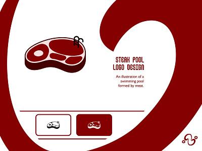 Steak Pool Logo illustration brand designer brand design logomark logotype logo inspiration logo idea logo for sale logo designer logo design grill swimming pool sport swimming swim food meal meat pool steak