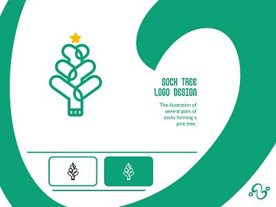 Sock Tree Logo illustration brand designer brand design logomark logotype logo inspiration logo idea logo for sale logo designer logo design star natural nature pine clothes apparel fashion foot tree sock