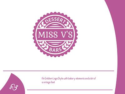Miss V's Logo (2021) illustration brand designer brand design logomark logotype logo inspiration logo idea logo logo designer logo design emblem restaurant design hill project company beverage food bar dessert