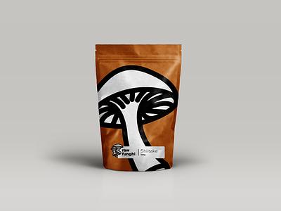 Raw Funghi label illustration shiitake mushroom packaging