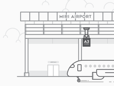 Miri International Airport entrance clouds airlines malaysia flight flat lines terminal airport