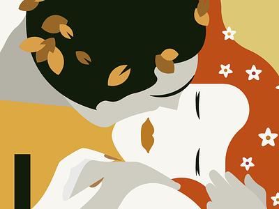 The Kiss autumn intimate couple kiss illustration flat gold klimt gustav