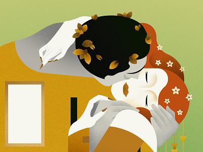 The Kiss klimt kiss intimate illustration gustav gold flat couple autumn
